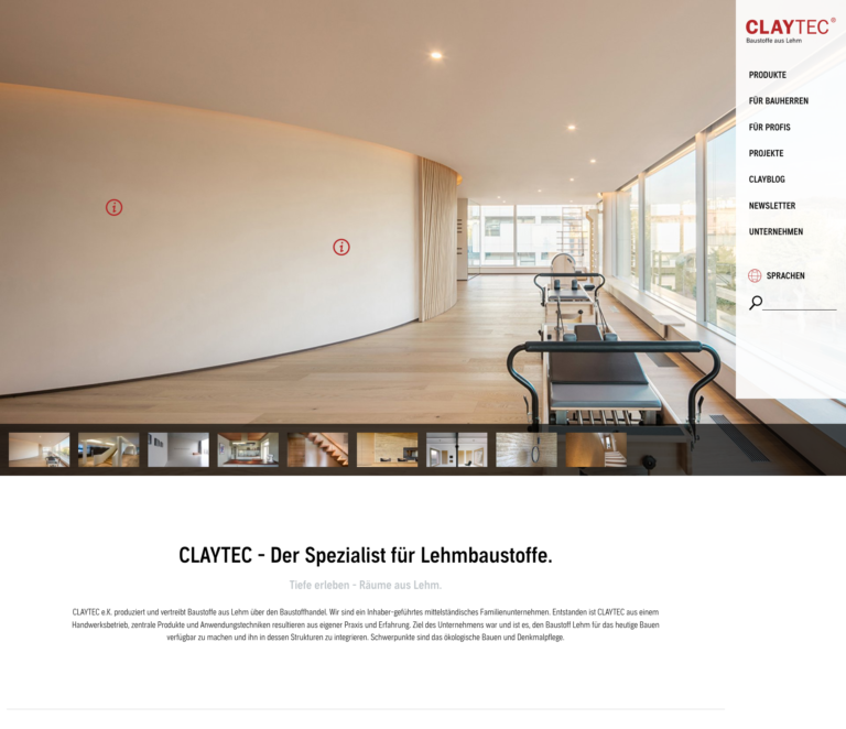 Website Claytec nach Relaunch