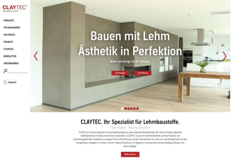 Website Claytec vor Relaunch