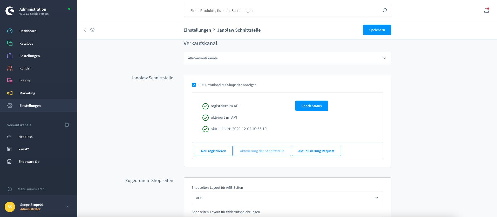 Janolaw API Shopware 6 Plugin