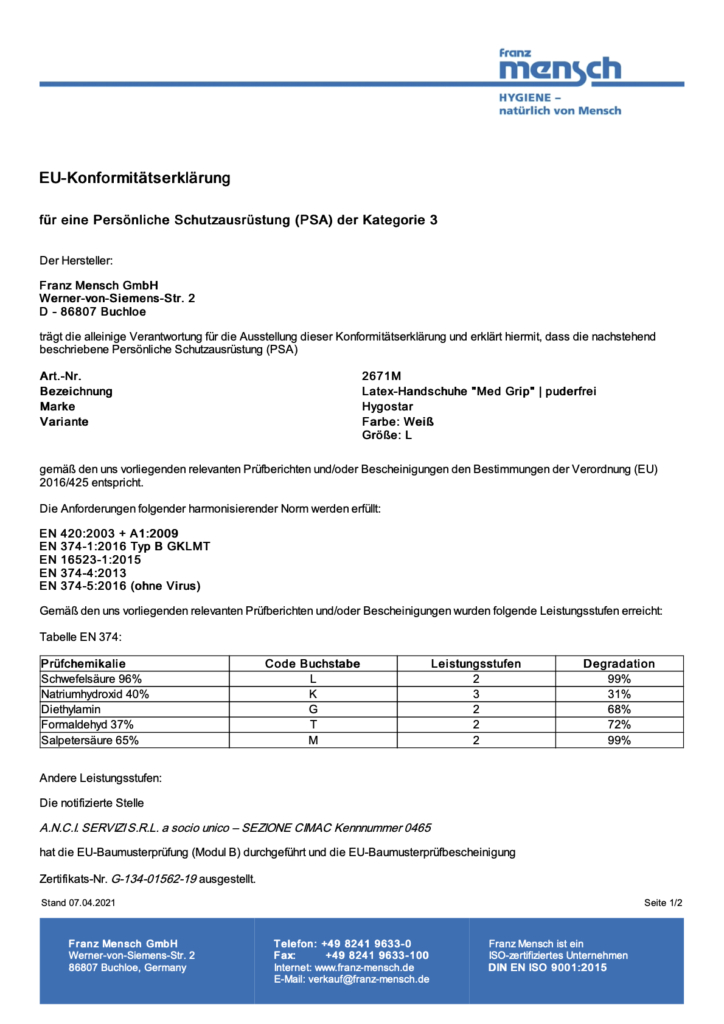 Konformitätserklärung PDF Pimcore
